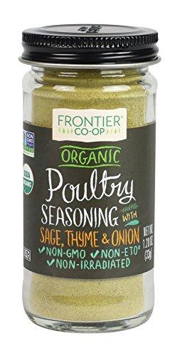Frontier Poultry Seasoning Certified Organic, Salt-Free Blend, 1.2-Ounce Bottle