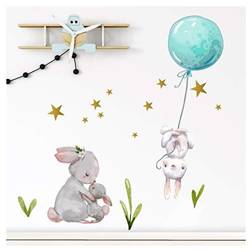 Little Deco Wandtattoo Babyzimmer Hasen mit Ballon Blau I L - 157 x 131 cm (BxH) I Sterne Kinderbilder Deko Kinderzimmer Jungen Aufkleber Sticker DL237