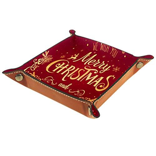 YATELI Caja de Almacenamiento pequeña, Bandeja de Valet para Hombre,Saludo de Vacaciones Red Oro Deer Alk Holly Copos de Nieve,Organizador de Cuero para Llaves de Caja de Monedas