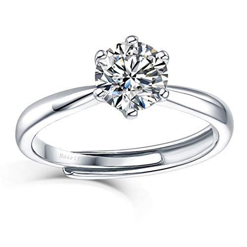 1ct Moissanite Engagement Ring 925 Sterling Silver for Women Adjustable with D...