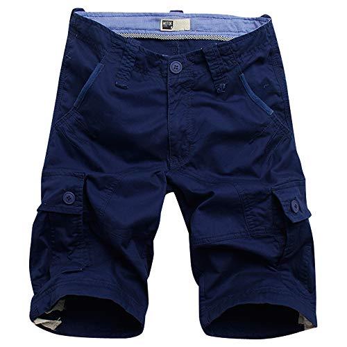 MOTOR CASUAL Shorts Cargo de Sarga para Hombres Shorts Holgados de Carga Suelta de algodón (Armada, 34)