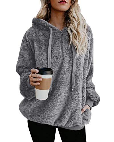 ORANDESIGNE Damen Herbst Winter Kapuzenpullover Hoodie Pullover Teddy-Fleece Mantel Langarmshirt Mit Kapuze Grau DE 38