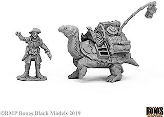 Reaper Miniatures Dreadmere Tortoise & Drayman #44053 Bones Black Plastic Figure