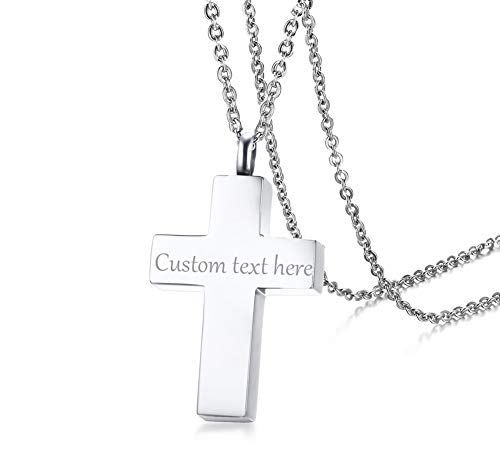 VNOX Personalised Custom Stainless Steel Cremation Urn Cross Pendant Ash Memorial Necklace for Men,Free wngraving