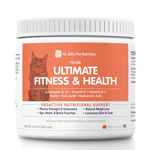 Dr. Bill's Feline Ultimate Fitness & Health | Pet Supplement | Complete Multivitamin for Cats | Includes Coenzyme Q-10, Vitamin E, Vitamin D-3, Biotin, Folic Acid, and Hyaluronic Acid