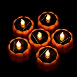 6 Pack of IP44 Waterproof Solar led Pumpkin Tea Lights flameless Candles Battery Operated Christmas Decorative Prop