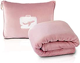 EverSnug Travel Blanket and Pillow - Premium Soft 2 in 1 Airplane Blanket with Soft Bag Pillowcase, Hand Luggage Belt and Backpack Clip (Light Pink)