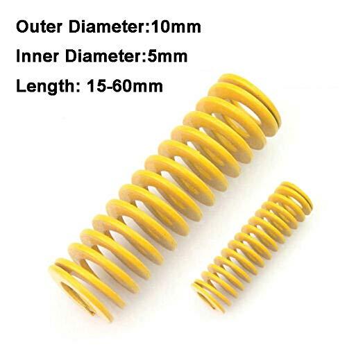 NO LOGO L-Yune, 2ST Gelb Lange Leichte Belastung Stamping Kompressions-Form des Frühling Außen-Ø 10 mm Innen-Ø 5 mm Länge 15-60mm (Größe : 10 x 5 x 40mm)