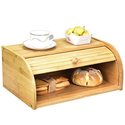 Caja de pan de bambú, almacenamiento de pan de encimera, cajas de pan enrollables, pan de madera para tu cocina..