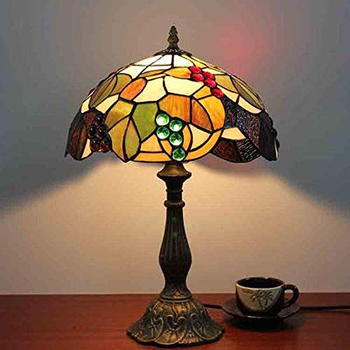 Lámpara de mesa Lámpara de mesita de noche de dormitorio marrón de vitrales europeos retro negro verde iluminación de habitación de hotel base de resina noble y elegante (color:base de aleación)