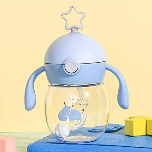 Taza portátil de paja para alimentar a bebés con doble asa, biberón de entrenamiento para niños, vasos para sorber de agua para niños, 280 ml