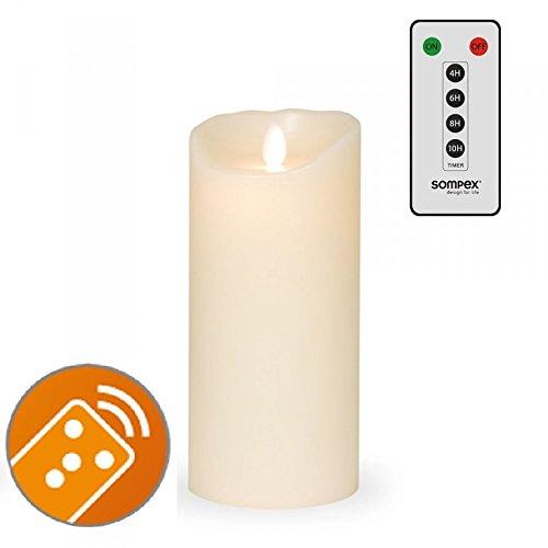 SOMPEX 35131 Flame LED - Echtwachs Kerze Classic elfenbein 8 x 18cm MIT FERNBEDIENUNG! Bundle inklusive Fernbedienung!