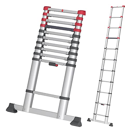 Hailo T80 FlexLine Alu Teleskopleiter | 11 Sprossen belastbar bis 150 kg | bis 3,22 m Leiterhöhe einstellbar | einzelne Sprossen ausfahrbar | farbige Verriegelungsanzeige | Quertraverse| silber