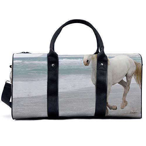 Bolsa de deporte para gimnasio, color blanco, arena de caballo, escape, bolsa de yoga, bolsa de hombro, bolsa de viaje, bolsa de viaje para hombres y mujeres