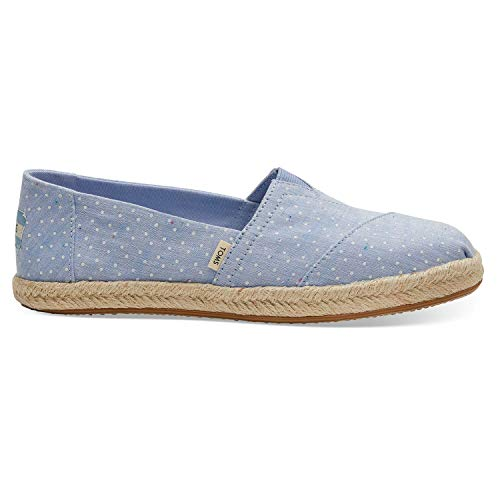 TOMS Bliss Blue Tiny Chambray Dots Women's Espadrilles 10013520 (Size: 8.5)