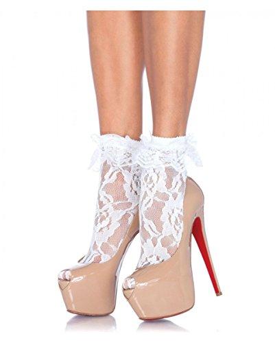 Horror-Shop Weiße Spitzensöckchen als Zubehör für Rockabilly Kleider & 50er Jahre Kostüme