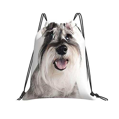 QUEMIN Mochila con cordón Mochila Happy Cute Funny Dog Schnauzer