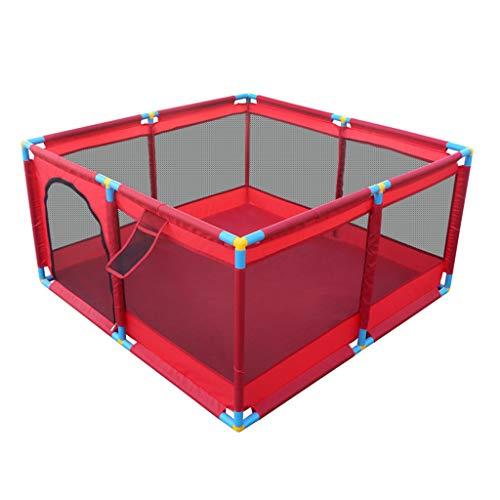 Barrière de bébé Sécurité Bébé Jouer à la clôture Tapis de sécurité intérieur pour Enfants Maison Ball Pool Toy Kid Briser-Résistant Parc d'enfant (128x128x66cm) - Orange Jaune