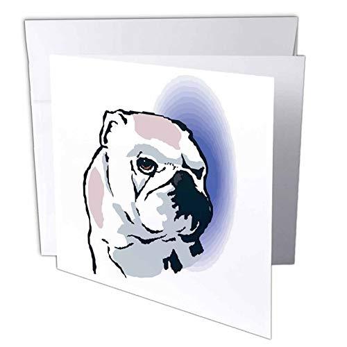 3drose wenskaarten, 15,2 x 15,2 cm, 6 stuks, schattige en knuffelige honden Engels Bulldog hoofd (GC 128986 1)