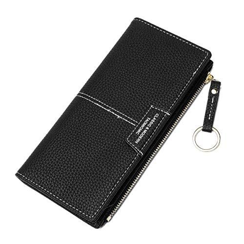 JOSEKO Brieftasche Damen, Lange Geldbörse Damen mit Mehreren Steckplätzen aus PU Leder Kartenhalter Portemonnaie Frauen mit Schlüsselring für Mädchen (Schwarz#01)