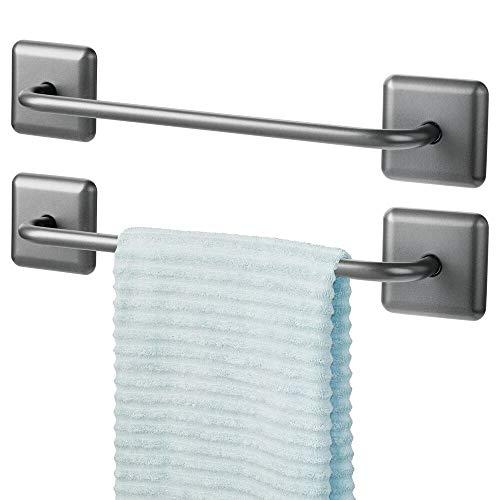 mDesign Juego de 2 toalleros de baño sin taladro – Toallero adhesivo para paños de cocina y toallas de invitados o de sauna – Práctico y elegante secatoallas autodhesivo – gris