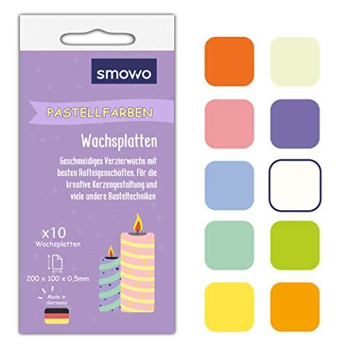 Smowo 10 Pastell Wachsplatten 20 x 10cm zum gestalten, dekorieren und verzieren von Kerzen - Verzierwachs zum Basteln - Kerzenplatten Wachs Platten