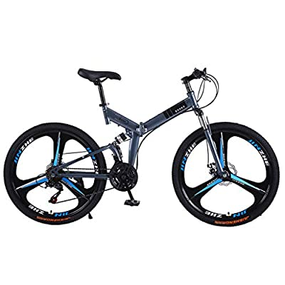 LODDD High Carbon Steel 26 Inch Folding Mountain Bike Mechanical Disc Brakes Shimanos 21 Speed Gears Bicycle Full Suspension MTB Bikes - US Stock (Blue-2, 21 Speed)