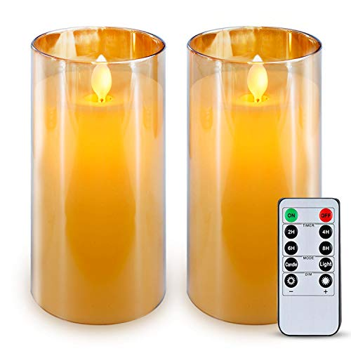 """5plots 3"""" x 6"""" Gold Flickering Flameless Candles, Unbreakable plexiglass Battery Operated Acrylic LED Pillar Candles with Remote Control and Timer"""