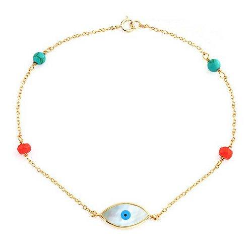 Bling Jewelry Compressa Corallo Turchese Cordone Mop Malocchio Braccialetto per Donne per La Teen 14K Placcato Oro Argento 925