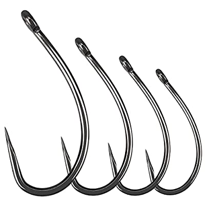 Luroad 50pcs Barbless Carp Coarse Eyed Fishing Hook Size 2, 4, 6, 8, 10, Available in Teflon Coated Curved Shank Hook and Wide Gape Hook for Freshwater Saltwater (Hook size 6, Curved Shank)