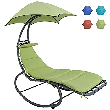 HARBOURSIDE HAMMOCKS Patio Hammock Chair with Stand and Canopy/Umbrella Outdoor Swing Chaise Lounge with Stand Free Standing Rocking Lounger Chair with Cushion and Pillow for Adults Outside