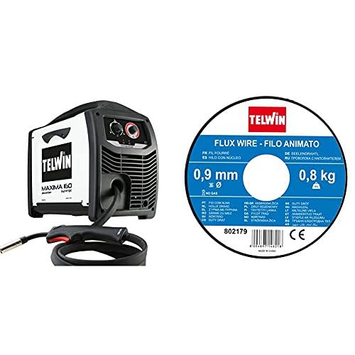 Telwin 816085 Maxima 160 Synergic Saldatrice Inverter A Filo Mig-Mag/Flux/Brazing, 230 V, Maxima 160, Bianco & 802179 Bobina Filo Animato Per Saldatura, 0.9 Mm - 0.8 Kg, Grigio