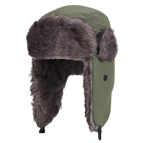 Sombrero de cazador para hombres, sombrero de piloto, sombrero de aviador, sombrero ruso, cazador a prueba de viento, gorro de invierno unisex con orejeras de piel sintética, gorro cazador cálido