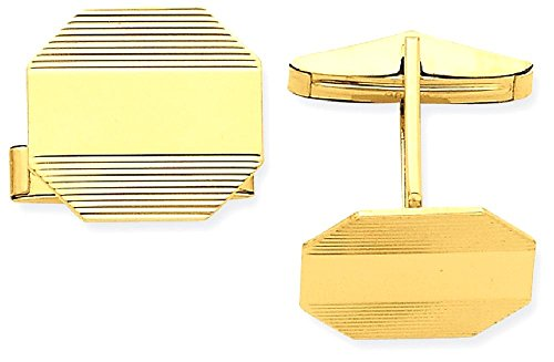 14k Yellow Gold Mens Rectangular Octagon Line Design Cuff Links Cufflinks Link Fine Jewellery For Dad Mens Gifts For Him steampunk buy now online