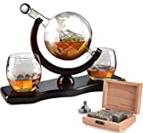 The Wine Savant World Decanter - With 2 Globe Glasses, Perfect Gift, Includes Whiskey Stones For...