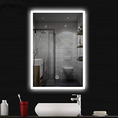 COCOFLY Wall Mounted Bathroom Mirror, LED Lighted Makeup Vanity Mirror with Touch -