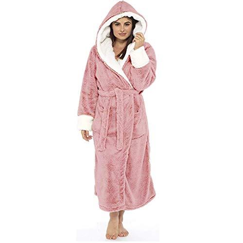 Robe De Chambre Femme Polaire Longue Grande Taille Ultra Doux Confortable Peignoir Femme A Capuche Eponge Peluche (S, Rose)