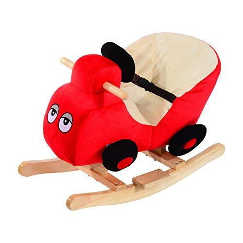 HOMCOM Schaukelpferd Kinder Schaukeltier Plüsch Schaukel Pferd Baby Schaukelspielzeug Geschenk für Kinder (Schaukelauto)