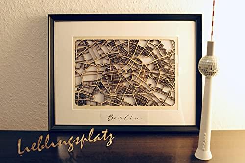 Stadtplan aus Holz zur Dekoration, als Geschenk, Geburtstag, Hochzeit oder Jubiläum, Citymap Lasercut Berlin Hamburg München Stuttgart Köln
