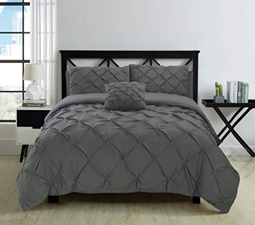 Fixtex Pinch Pleat Pintuck Duvet Cover Set with Fitted Sheet & Pillow Cases Includes Complementary Cushion Cover – Set of 5 (Charcoal, King)