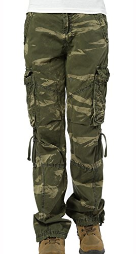 SKYLINEWEARS Women's Casual Cargo Pants Military Army Styles Cotton Trousers CamoGreen S