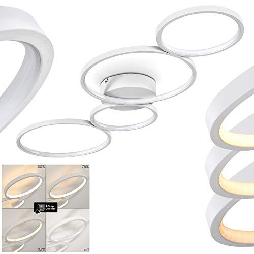 LED Deckenleuchte Rodekro, moderne Deckenlampe aus Metall in Weiß, 37 Watt, 3300 Lumen, Lichtfarbe 3000 Kelvin (warmweiß), dimmbar über Lichtschalter