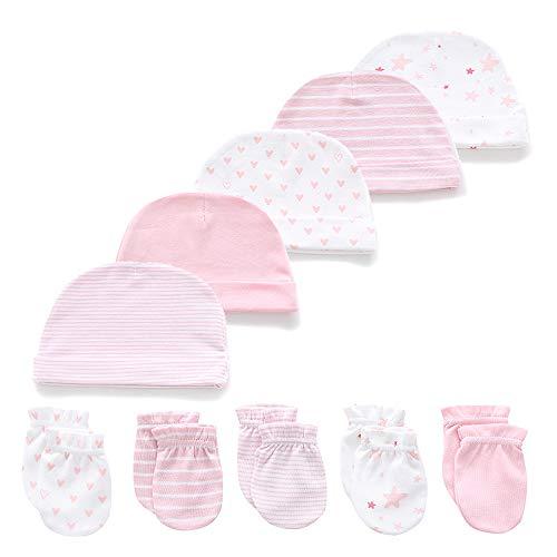 Kiddiezoom Baby Jungen Mädchen Baumwolle Cap Fäustling – 10 Pack Weiche Baumwolle Baby Mützen Baby Scratch Fäustling Handschuhe Fäustling Gr. M, Blue Sky Set