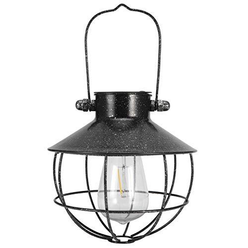 CjnJX-Vases Luz Solar con Capucha Redonda, Linterna Solar para Patio, luz LED Colgante, Luces de decoración al Aire Libre, Blanco cálido, Carcasa de Hierro, Negro