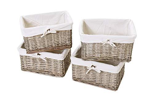 Vivanno 4er Set Regalkorb Schrankkorb Korb Aufbewahrung aus Weide für Billy Regal Basko, 36 cm, Grau