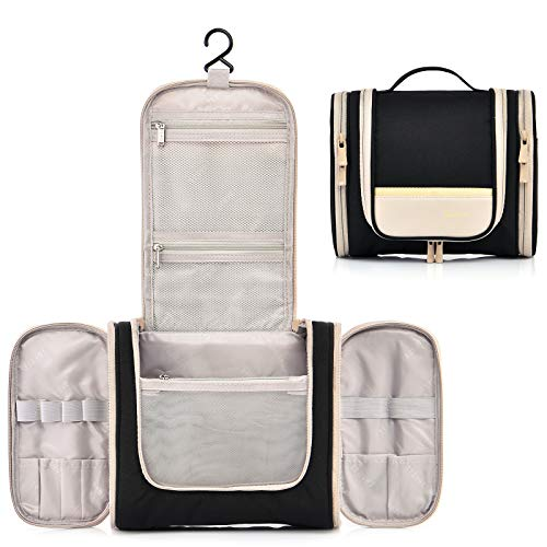 Hanging Toiletry Bag with Side Pockets, Cosmetic Bags for Women Travel Size Mens Travel Shaving Dopp Kit (Black)