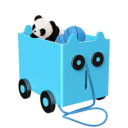 Caja de Juguetes Madera Almacenamiento para Niños LZYMSZ, Estantería para Niños Cofre de Madera con Ruedas, Canasta de Almacenamiento Infantil para Juguetes y Libros, Librero Infantil(b)