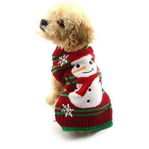 NACOCO Dog Snow Sweaters Snowman Sweaters Xmas Dog Holiday Sweaters New Year Christmas Sweater Pet Clothes for Small Dog and Cat (Snowman,XXS)