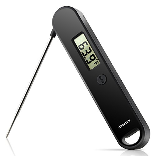 GDEALER Meat Thermometer Super Fast Instant Read Thermometer Digital Kitchen Cooking Thermometer With Long Collapsible Probe for Kitchen,Smoker,BBQ,Milk,Candy(New Simple Version)