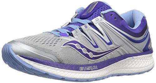 Saucony Women's Hurricane ISO 4 Running Shoe, Grey/Purple, 5.5 Medium US